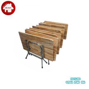 bàn gỗ chân gấp inox